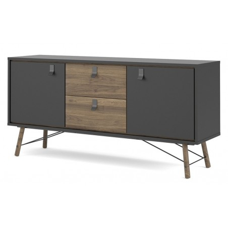 Tula Sideboard in matt black and walnut, right angle view