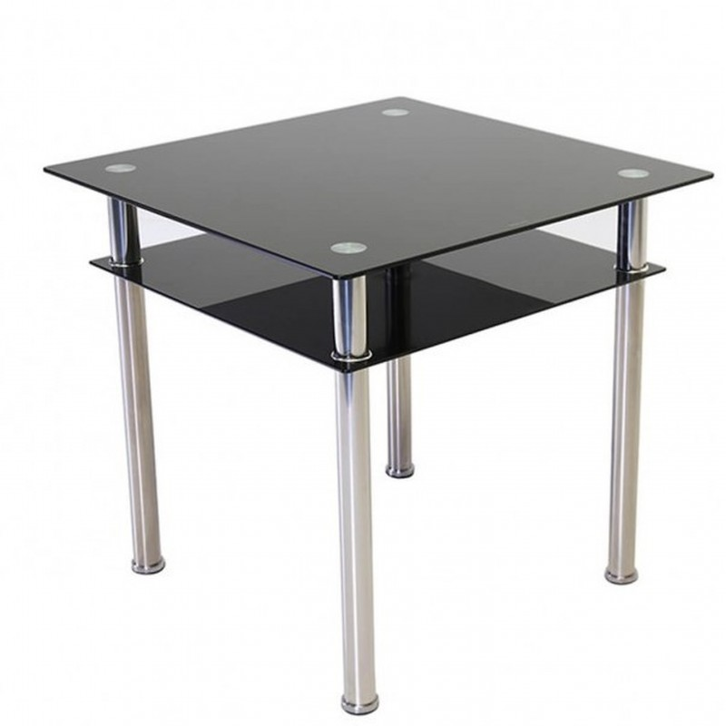 An image of Scheckter Square Glass Dining Table - Black