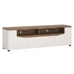 Elda Wide TV Unit in Alpine white and Stirling oak, angle view