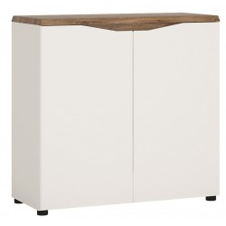 Elda 2 Door Sideboard in white gloss and oak, angle view