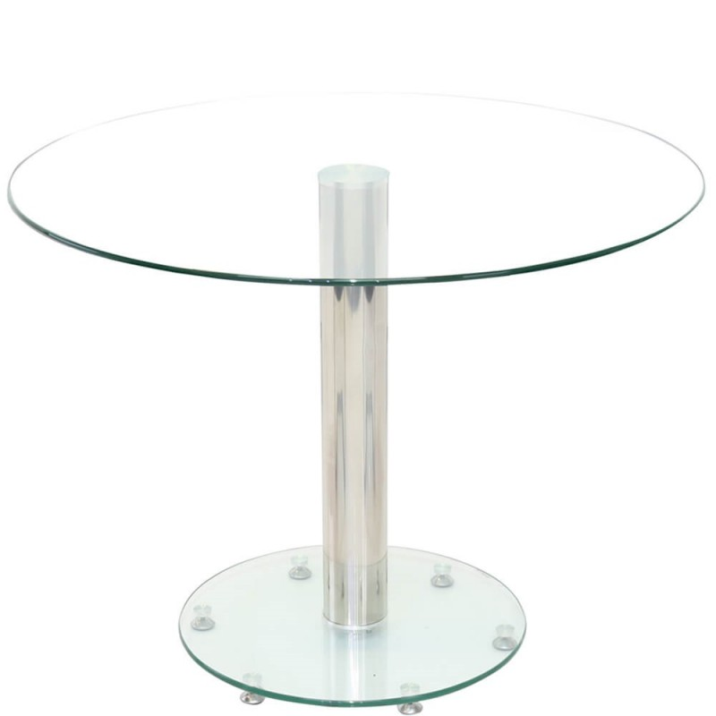 An image of Mildura Glass Dining Table - Clear - 80cm