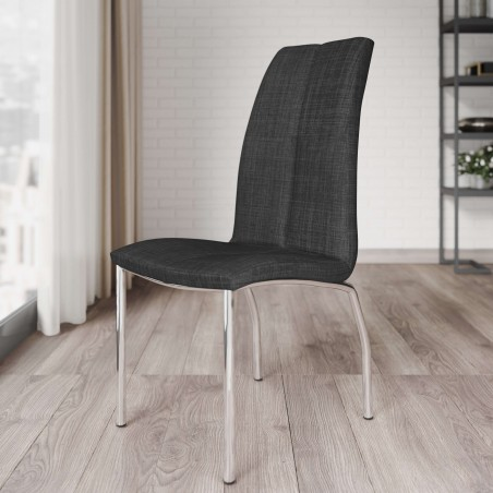Jatal Charcoal Fabric Dining Chair Mood Shot