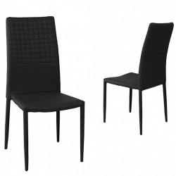 Adoni Faux Leather Modern Dining Chair Black Pair
