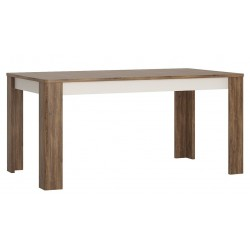 Elda Extending Dining Table in Alpine white gloss and Stirling oak, angle view