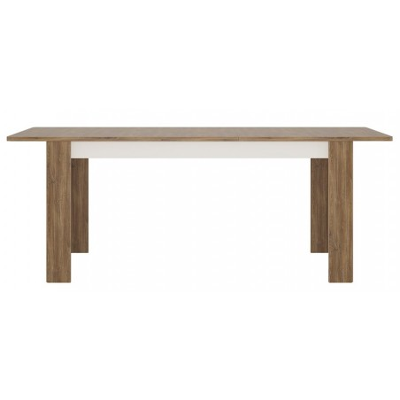 Elda Extending Dining Table in Alpine white gloss and Stirling oak, front view