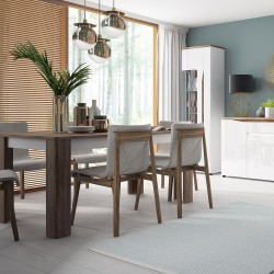 Elda Extending Dining Table in Alpine white gloss and Stirling oak, mood shot 1