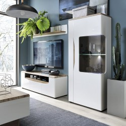Elda Low Display Cabinet (RH) in Alpine white gloss and Stirling oak, room shot 1