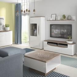 Elda Low Display Cabinet (RH) in Alpine white gloss and Stirling oak, room shot 2