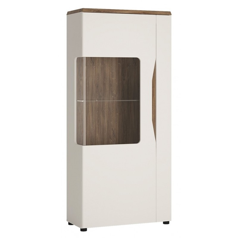 Elda Low Display Cabinet (LH) in Alpine white gloss and Stirling oak, angle view