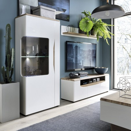 Elda Low Display Cabinet (LH) in Alpine white gloss and Stirling oak, room shot 1