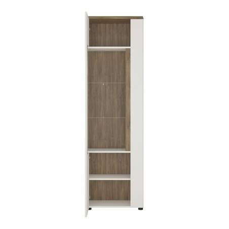 Elda Display Cabinet (LHD) in Alpine white gloss and Stirling oak, open door detail