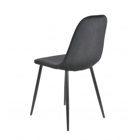 Anthol Velvet Upholstered Dining Chair - Black Angled Rear View