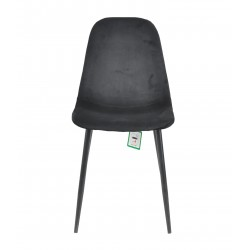 Anthol Velvet Upholstered Dining Chair - Black Rear View