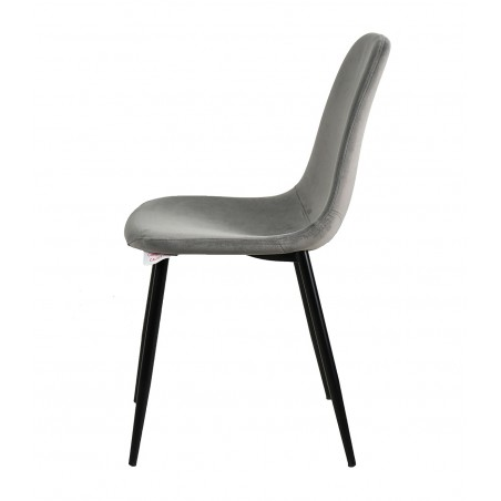 Anthol Velvet Upholstered Dining Chair - Grey Side View