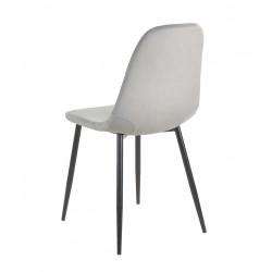 Anthol Velvet Upholstered Dining Chair - Grey Angled Rear View