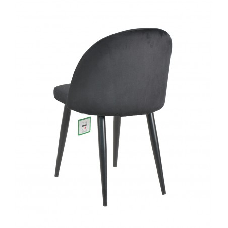 Candel Velvet Upholstered Dining Chair - Black  Rear View