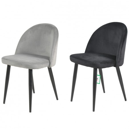 Candel Velvet Upholstered Dining Chair - Grey  & Black