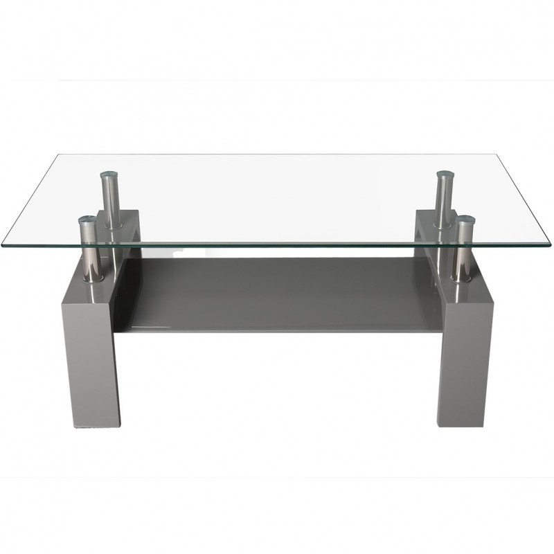 Rindt Glass & Gloss Coffee Table - Grey