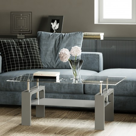 Rindt Glass & Gloss Coffee Table - Grey Mood Shot