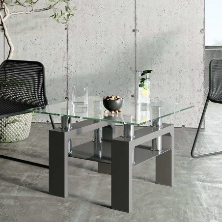 Rindt Glass & Gloss Side Table - Grey