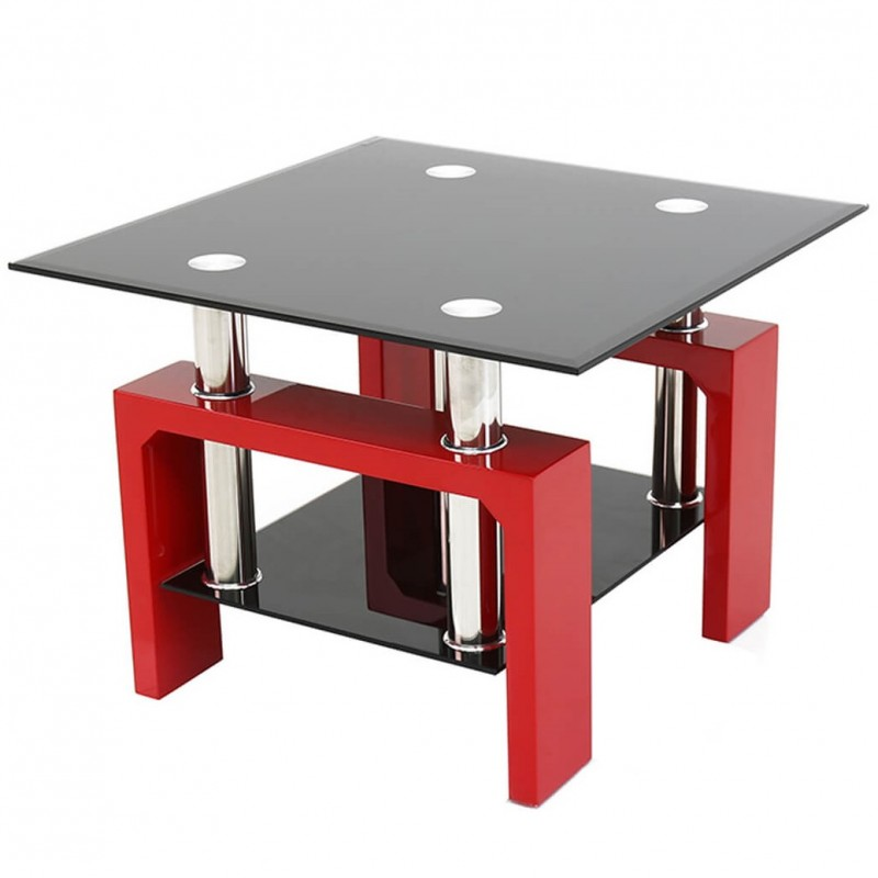 An image of Rindt Glass & Gloss Side Table - Grey