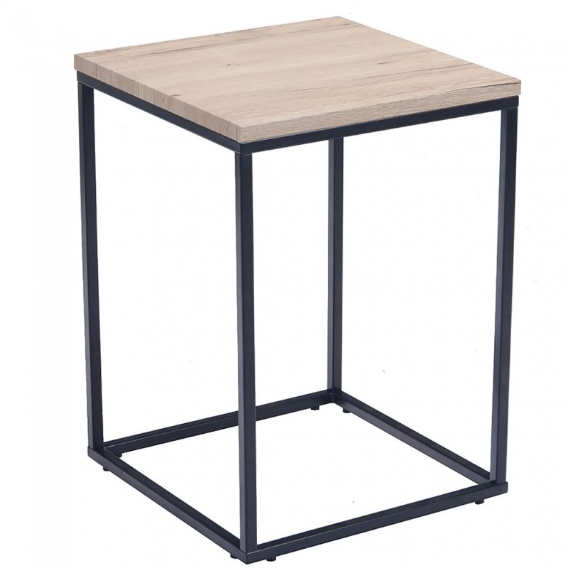 Louise Industrial Style Side Table - Ash Top
