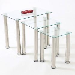 Crystalia Chrome & Glass Nest of Tables - Clear