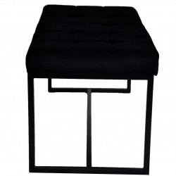 Ibarra Velvet and Chrome Dining Bench Side View
