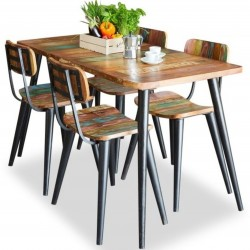 Malvan small reclaimed wood rectangular dining table 1. White background.