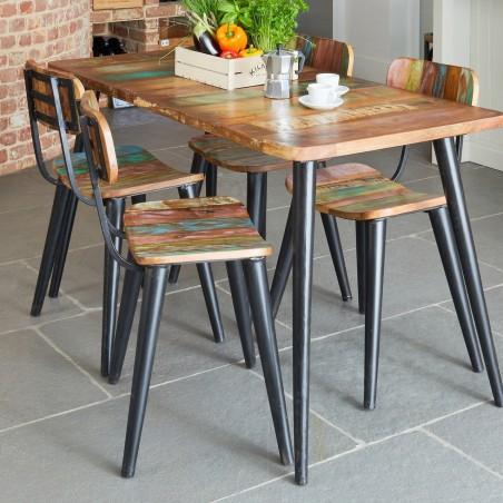 Malvan small reclaimed wood rectangular dining table 2