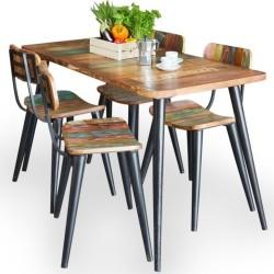 Malvan large reclaimed wood rectangular dining table. White background.