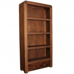 Salento Large Four-Tier Walnut Bookcase with Two Drawers