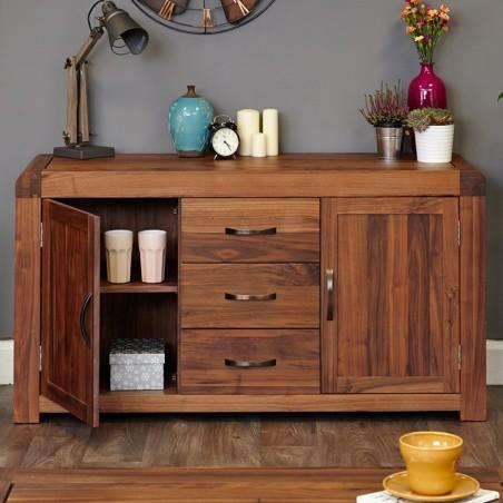 Salento large walnut sideboard front open