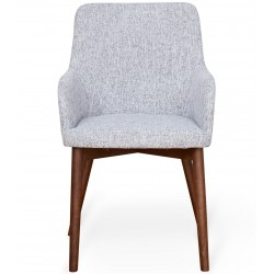 Panaro Walnut Light Grey Upholstered Dining Chair