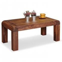 Salento walnut coffee table side view. White background.