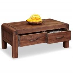Salento four drawer walnut coffee table side view. White background.