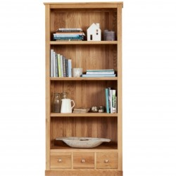 Teramo Large 4 Tier Oak Bookcase with 3 Drawers