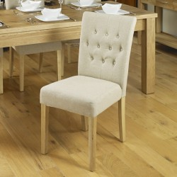 Teramo Biscuit Shade Flare Back Cushioned Oak Dining Chair Angled Right