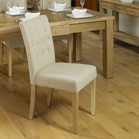 Teramo Biscuit Shade Flare Back Cushioned Oak Dining Chair Angled Left