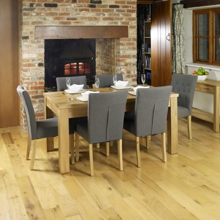 Teramo Slate grey Flare Back Upholstered Oak Dining Chair Room Shot