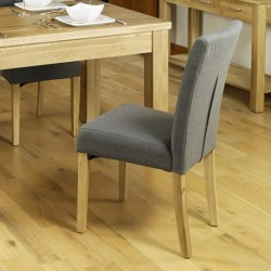 Teramo Slate grey Flare Back Upholstered Oak Dining Chair Side View