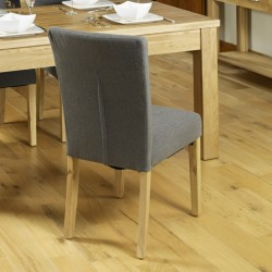 Teramo Slate grey Flare Back Upholstered Oak Dining Chair Back View