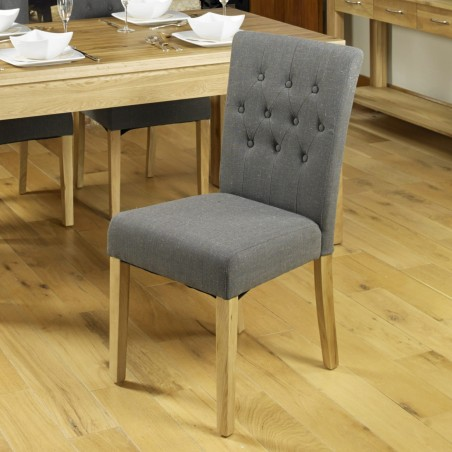 Teramo Slate grey Flare Back Upholstered Oak Dining Chair Front View