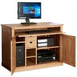 Teramo Oak Compact Hidden Office Computer Desk open