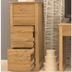 Teramo Oak 3 Drawer Filing Cabinet Front  2 open
