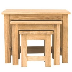 Teramo Oak Nest of 3 Coffee Tables Close Up View