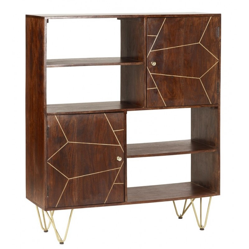 Tanda Dark Gold Display Cabinet, angle view