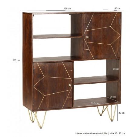 Tanda Dark Gold Display Cabinet, dimensions