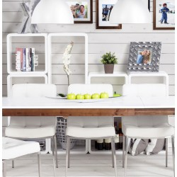 Cubo Square Side Table White Storage