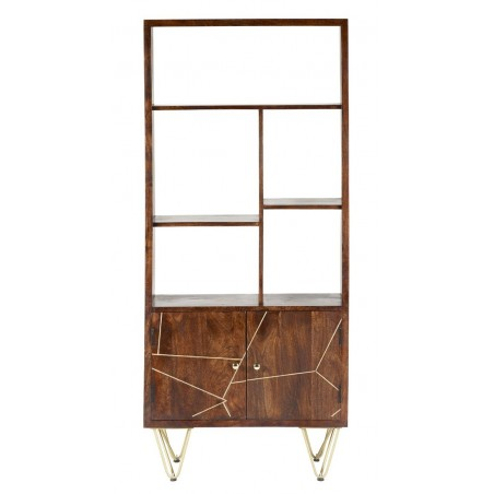 Tanda Dark Gold Large Bookcase, front view